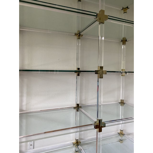 Hollywood Regency Vintage Large Lucite Brass and Glass Bookcase Etagere For Sale - Image 3 of 9