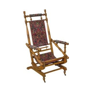 Antique 19th Century Victorian Carpet Upholstered Platform Rocker For Sale