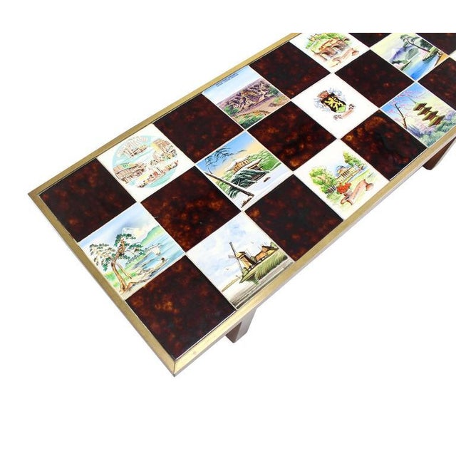 Early 20th Century Mid Century Modern Checker Style Tile Top Coffee Table in Brass Frame For Sale - Image 5 of 6
