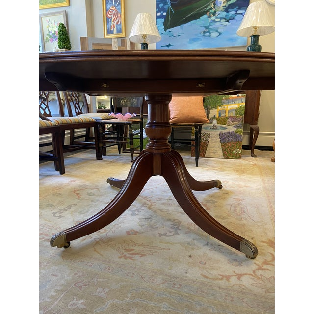 Brown 1920s Traditional Round Mahogany Dining Table For Sale - Image 8 of 12