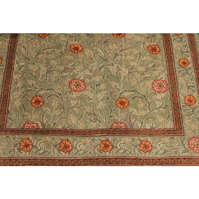 "William Morris Pak-Persian Jasmine Green Red Wool Rug - 4'1"" x 5'11"" For Sale - Image 5 of 8"