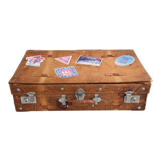 1940s Tanned Leather Suitcase Luggage With Travel Stickers For Sale
