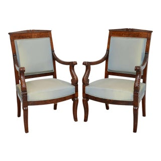 Fine Pair French Empire Mahogany Armchairs, Stamped Belanger For Sale