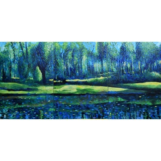 Large Forest Lake Triptych Painting For Sale