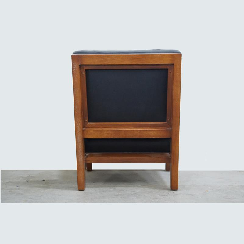 Walnut And Black Leather Slipper Chair   Image 5 Of 6