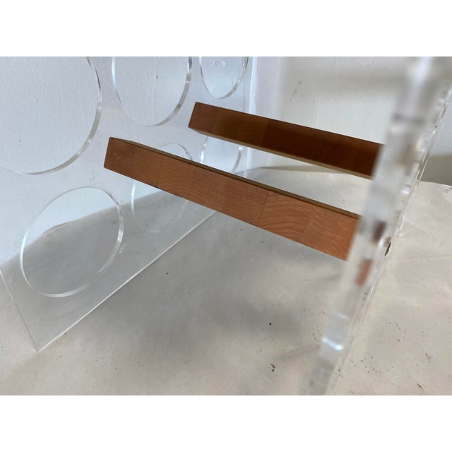 Wood Mid-Century Lucite and Butcher Block Wine Holder and Cheese Board For Sale - Image 7 of 8
