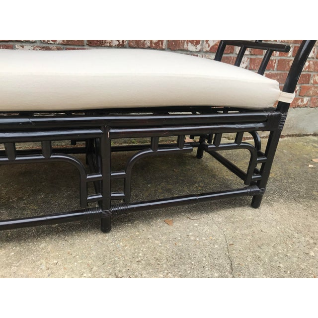 1970s Vintage Faux Bamboo Upholstered Bench For Sale In New Orleans - Image 6 of 13