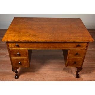 1910s Antique Arts & Crafts Mission Solid Tiger Oak Office Desk / Writing Desk Preview