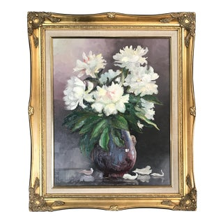 Vintage Oil Painting of Flowers in Vase by A. Muscat For Sale