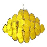 Image of Vintage Murano Glass Yellow Disc Chandelier
