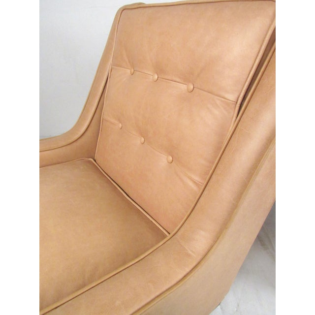 Pair Modern Leather Lounge Chairs For Sale - Image 10 of 11