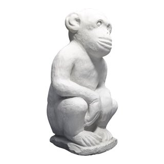 Vintage White Cement Monkey Sculpture Doorstop - Palm Beach Boho Chic Mid Century Modern Animal For Sale
