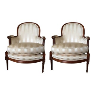 Modern Baker Louis XVI Style Bergeres- A Pair For Sale