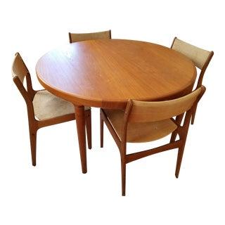 1960s Mid-Century Modern Johannes Andersen Uldum Mobelfabrik Dining Set For Sale