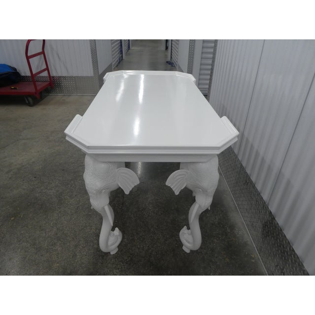 1970s 1970s Hollywood Regency Gampel Stoll White Lacquer Elephant Writing Desk For Sale - Image 5 of 13