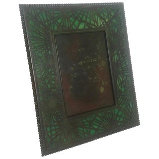 1900s Vintage Tiffany Studios Pine Needle Patinated Bronze Picture Frame For Sale