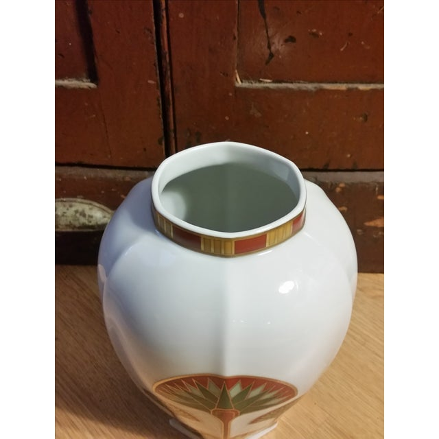 Signed Gail Levites Lotus Porcelain Vase Made in Japan - Image 4 of 6