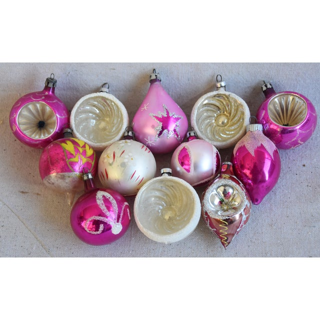 Pretty Vintage Pastel Christmas Tree Ornaments W/Box - Set of 12 For Sale - Image 4 of 9