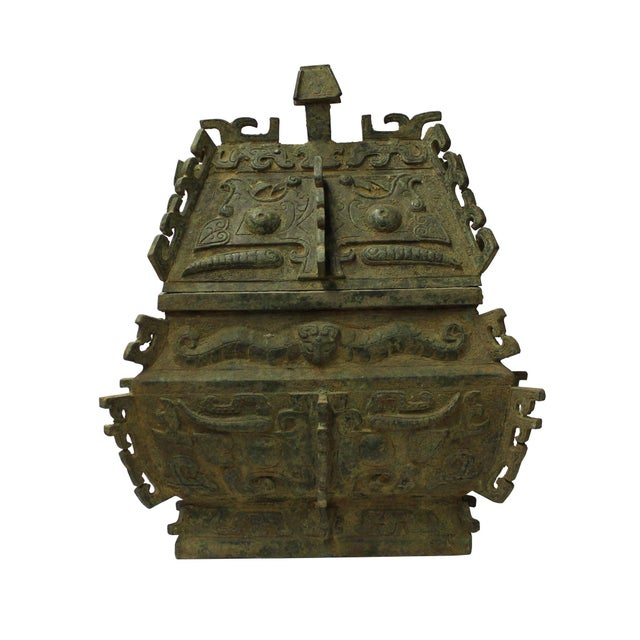 Chinese Ancient Dynasty Green Bronze Ceremonial Incense Burner Display Art - Image 5 of 9