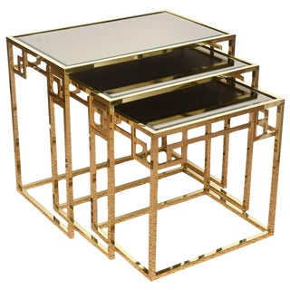 Set of Three Polished Brass and Glass Greek Key Nesting Tables For Sale