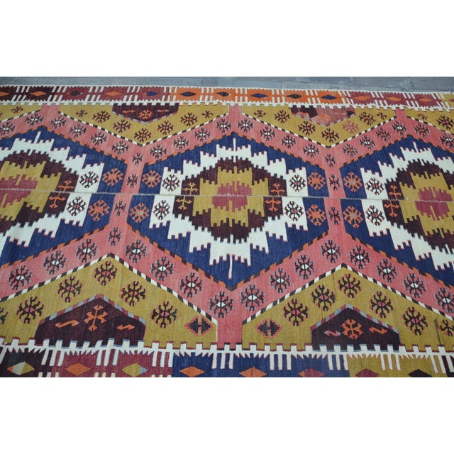 "Vintage Turkish Kilim Rug - 6' X 12'7"" For Sale - Image 5 of 6"