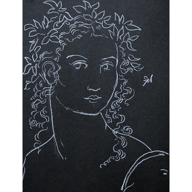 "Black Sarah Myers ""Woman Crowned With Leaves"" White Charcoal Drawing For Sale - Image 8 of 8"