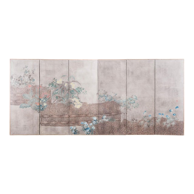 """Sung Tze-Chin Large Chinoiserie Hanging Screen Ink on Paper """"Brushed Wood Fence With Chrysanthemum"""" 11 Feet Wide by 6 Feet Height For Sale"""