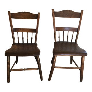 19th Century American Half Windsor Back Side Chairs - A Pair