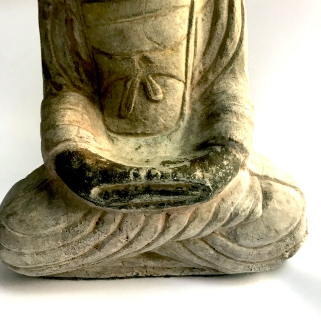 Mid 18th Century Antique Tibetan Carved Stone Temple Buddha For Sale - Image 5 of 13
