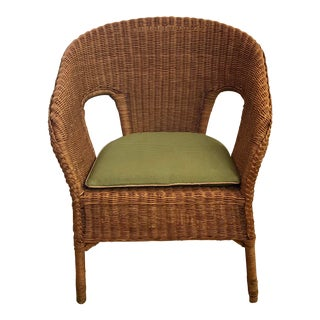 Late 20th Century Vintage Barrel Back Natural Wicker Chair For Sale