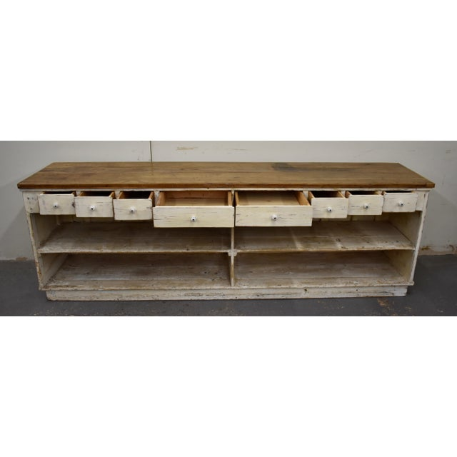 Ceramic Massive Vintage Painted Pine and Oak Store Counter For Sale - Image 7 of 13