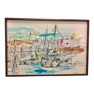 Vintage Harbor Ink and Watercolor Painting For Sale