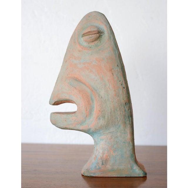 Vintage Mid-Century Modernist Primitive Man Bust Sculpture For Sale - Image 9 of 9