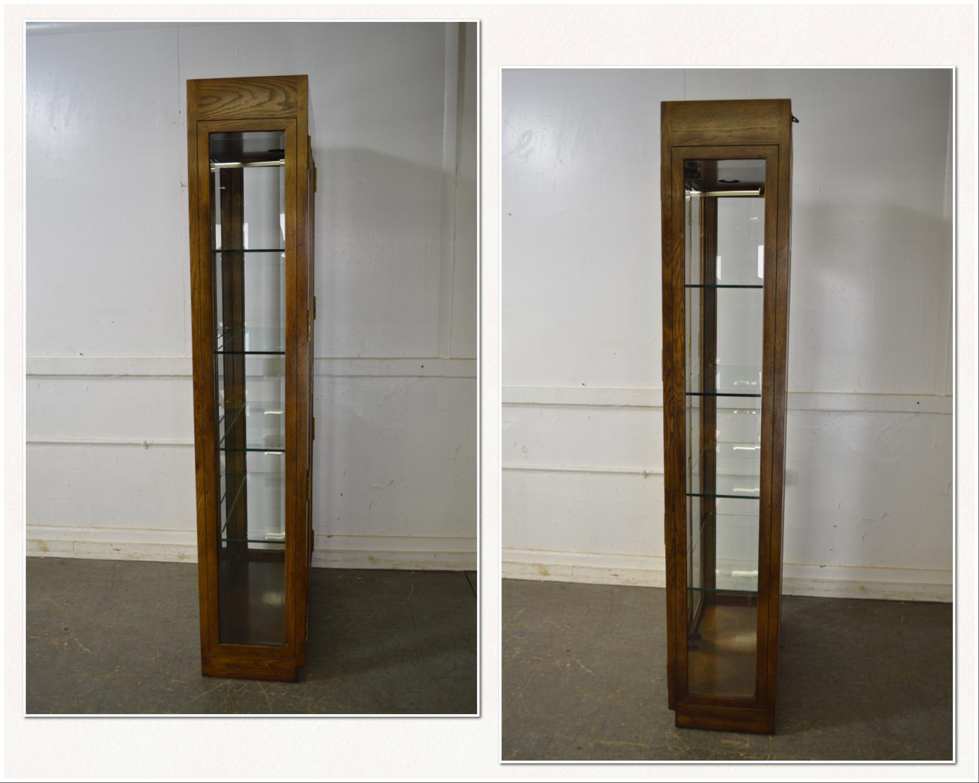 Henredon Campaign Style Tall Narrow Curio Display Cabinet   Image 3 Of 11