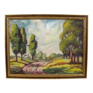 Vintage Landscape Gilded Framing Signed Painting For Sale