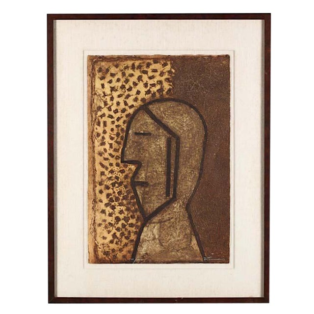"Rufino Tamayo Vintage Signed & Numbered Ltd. Ed. Abstract Mixograph-""Perfil""-Rufino Tamayo-Latin American Artist For Sale - Image 4 of 5"