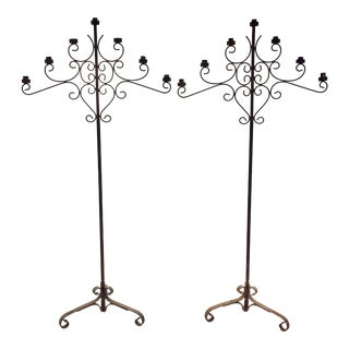 Gothic Style Iron Torchares Candelabras - A Pair For Sale