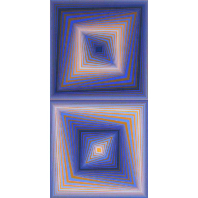 """1977 """"Bi-Rhombs"""" Limited Edition Silkscreen After Victor Vasarely For Sale"""
