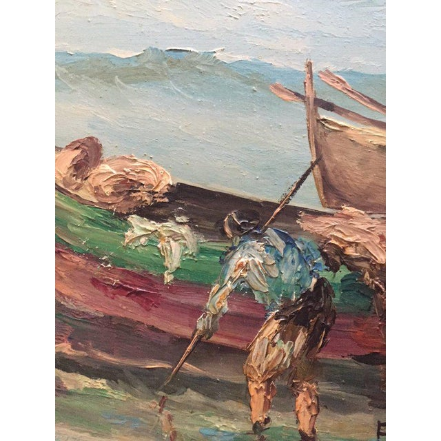 1960s 1960s Vintage Boats at Sea Amalfi Coast Oil on Canvas Painting For Sale - Image 5 of 11