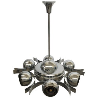 Italian Pop Art Space Age Chrome Ceiling Lamp With Six Balls, 1960s For Sale