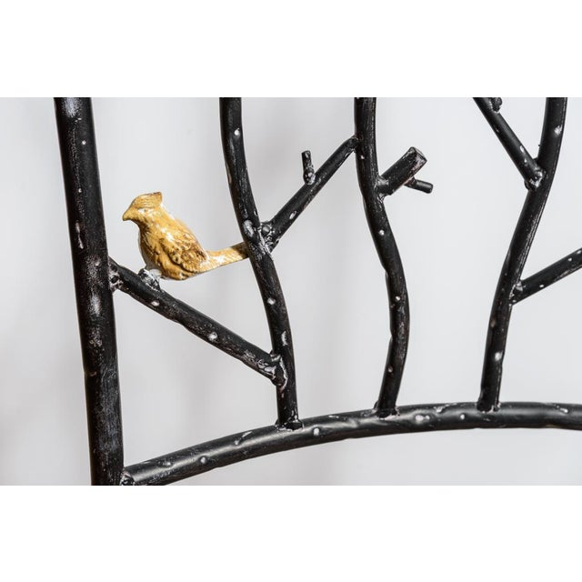 Black Vintage Faux Bois Wrought Iron Chair With Birds on Branches For Sale - Image 8 of 13