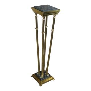 Italian Regency Style Brass & Granite Pedestal Plant Stand For Sale