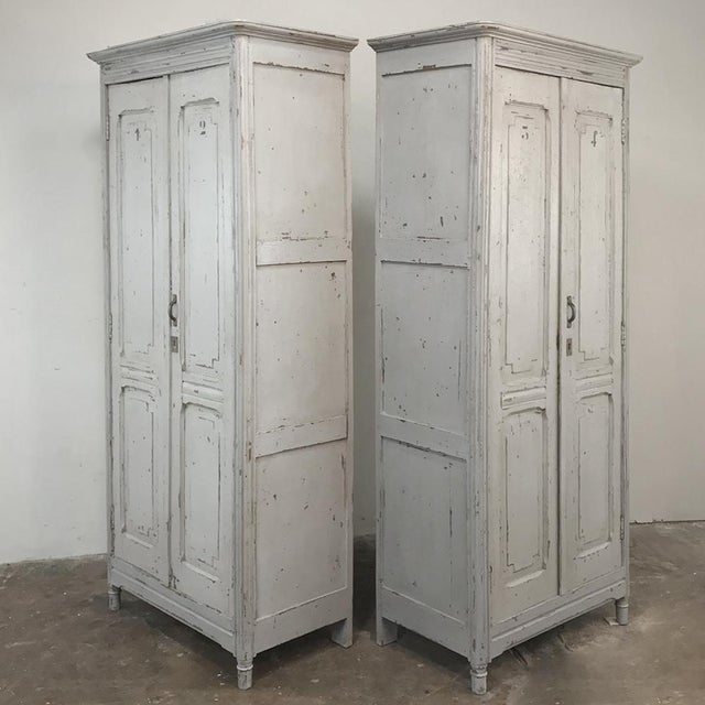 Gray Pair Antique Painted Wooden Locker Cabinets For Sale - Image 8 of 13