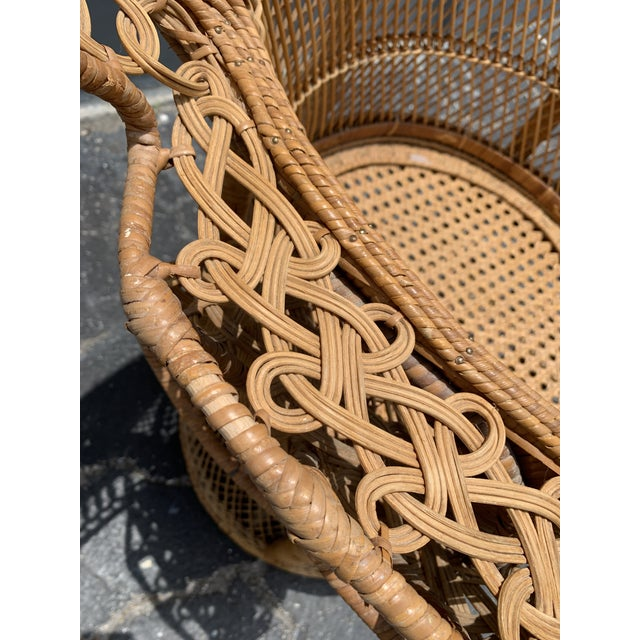 Hollywood Regency Vintage Wicker Peacock Chair For Sale - Image 3 of 12