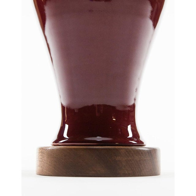 Lawrence and Scott, Inc Lawrence & Scott Gabrielle Baluster Porcelain Lamp in Pinot Red For Sale - Image 4 of 5