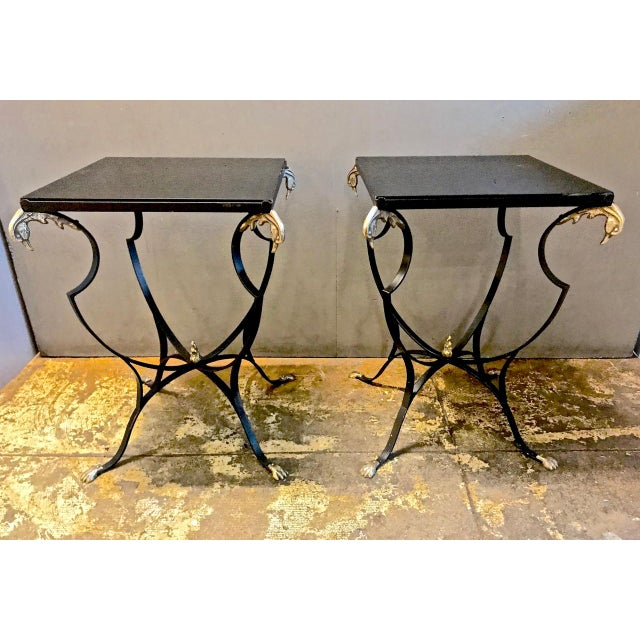 Pair Art Deco Forged Iron and Brass Side Tables For Sale - Image 10 of 10