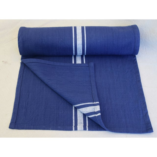 "Abstract Farmhouse Royal Blue & White Striped Table Runner 110"" Long For Sale - Image 3 of 8"