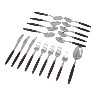 Vintage Mid Century Modern Faux Wood Flatware Set by Supreme Cutlery - Set of 18 For Sale