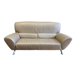 Natuzzi Taupe Leather Loveseat For Sale