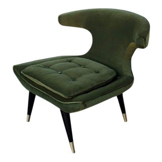 1960s Mid-Century Modern Olive Velvet Parker Wingback Chair For Sale